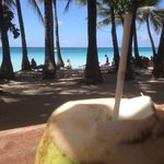 Buko Juice at a bar just next to Queen's Beach resort