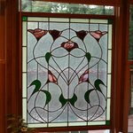 Stain glass window in lodge