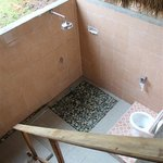 Open air toilet and shower