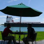 Upclose view of the St. Clair River from outside dinning, The Voyaguer
