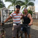 Javier and I returning from a mountain bike tour.