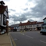 Panoramic view of the front from Dunmow Market with Market cross to the left