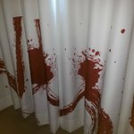 Crime scene blood spatter curtains