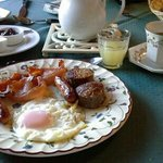 irish breakfast complete with tea and juice