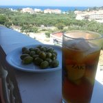 View from our room...with drink and olives!!