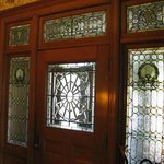 Front door showing stained glass wondows
