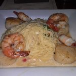 Jumbo scallops topped with shrimp