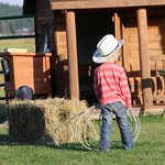 Practicing his roping skills!