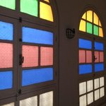 colorful window by the corridor
