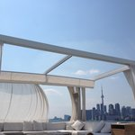 Gorgeous view of cabanas with downtown Toronto in the background