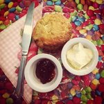 fresh fruit scone with jam and clotted cream