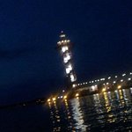 Lighthouse at night on Presque Isle Bay @Bayfront Sheraton