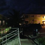 View of apartments by night