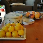 Fruit platters by the fireplace
