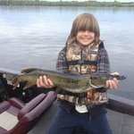 My son with a nice pike