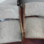 Stains on chairs in the room.