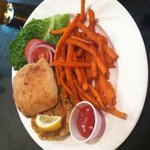 Crabcake with Sweet Potato Fries