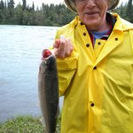 Grandma with Dolly Varden at Redfish private shore on the Kenai River