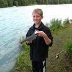 12 year old son with a Dolly Varden at the Redfish private shore on the Kenai river