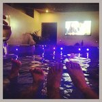 Enjoying the on demand movies in the spa