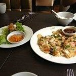 Seafood pancake and half a springroll (we couldn't wait..)