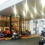motorcycle parking at the door