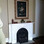 Marble fireplace in bedroom