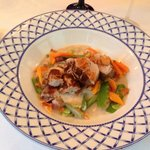 """Fennel Pollen Dusted Pan Seared Veal Tenderloin, Garlic Chips """"Blanquette"""" of Root Vegetables &"""