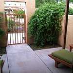 On the outdoor patio, (private, gated entry)
