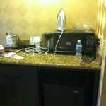Microwave, Fridge, and coffee station in room 422
