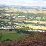 Gattonside (above centre) and Melrose (closer) from Eildon Hills