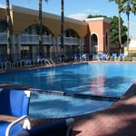 swimming pool in the center of the hotel