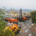 Rooftop terrace prepared for dinner