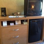 Rm 230, three drawer dresser, tv, fridge, coffee maker