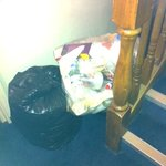 rubbish  in the lobby by the stairs
