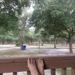 Relaxing view from the front porch rocking chair