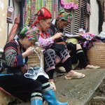 Ethnic ladies weaving