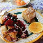 Stuffed French Toast with a blueberry sauce