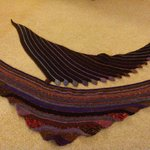 Two handspun, dyed & knitted scarves