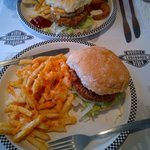 Vege chilli burger with cheesy chips