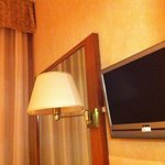 Mirror, lamp and tv