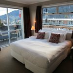 Room no. 2 with view of lake and Queenstown hill. Curtains to be drawn for privacy