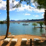 Swim beach with a lounge chairs and a beautiful view of Lake Havasu