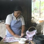 Doña Vera preparing her storming tortillas
