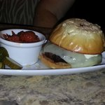 Grilled Local Angus Burger, Gruyere Cheese  Tomato Jam, Onion Roll