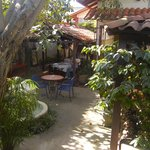 The beautiful courtyard at Hotel Las Volanes