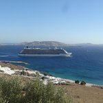 Cruise ship leaving in front of hotel