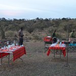 Staff getting ready for our bush dinner on the final night