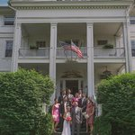 Wedding party on steps of Wake Robin - photo courtesy of Love + Perry Photography