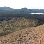 View of lava beds and painted dunes from top of Cinder Cone